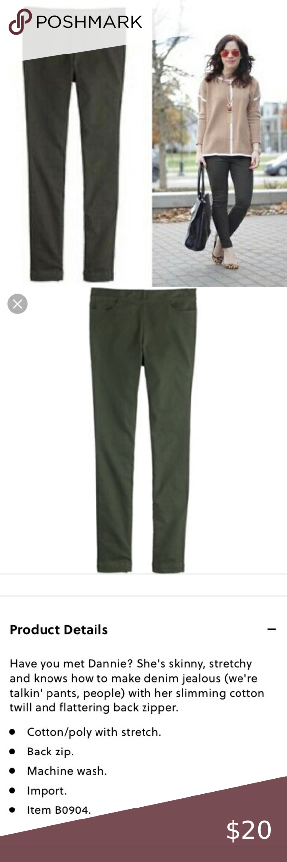 J. Crew Dannie Olive Green Skinny Pant Back Zip J. Crew Style B0904 Dannie skinny pants Back exposed zipper  Olive Green  Stretchy  Size 2 Excellent preowned condition J. Crew Pants Skinny