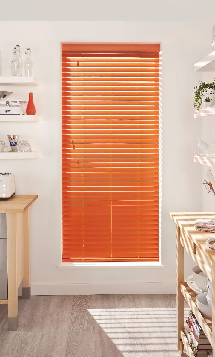 Bring Colour Into Your Kitchen With Bright Coloured Wooden Blinds, Pair  With Natural Shades And