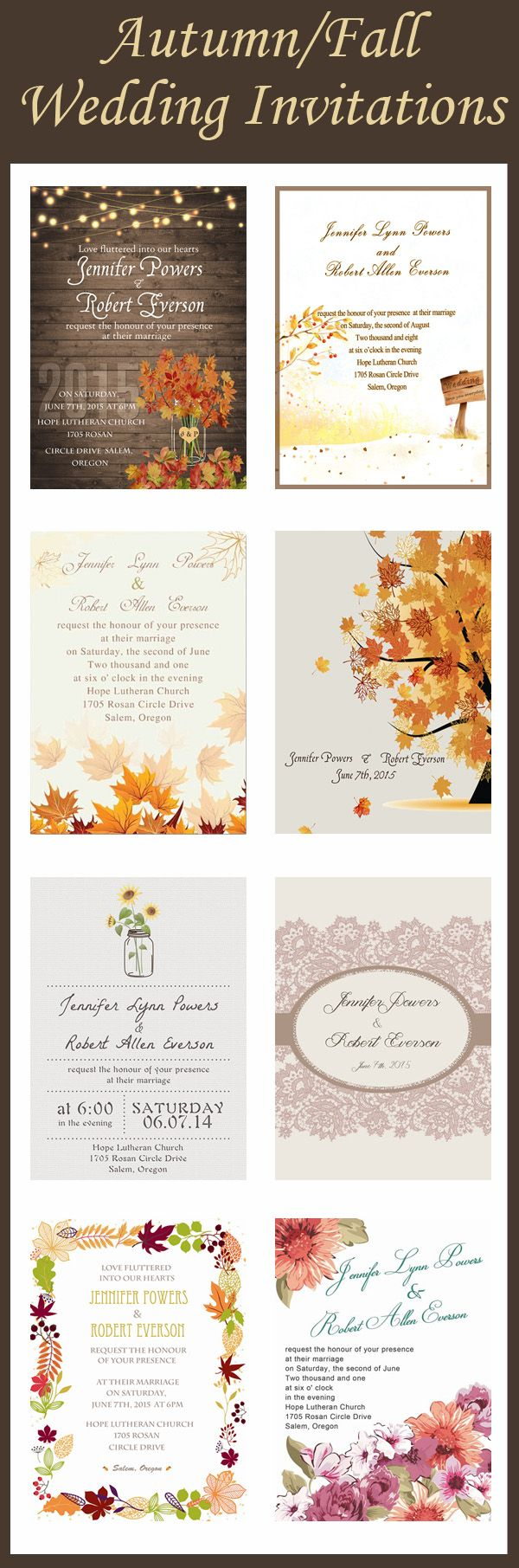 Fall in Love with Fall Inspired Wedding Invitations | Pinterest ...