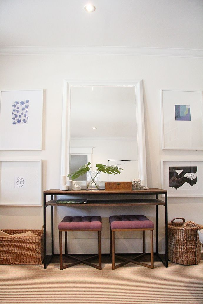 Gallery Wall, Ikea Frames, Target Tufted Threshold Ottomans ...