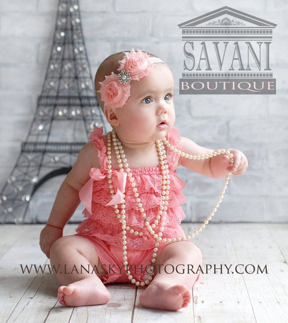 726a062df Baby girl lace romper, SALE, 2 pieces coral pink Petti Romper Set ...