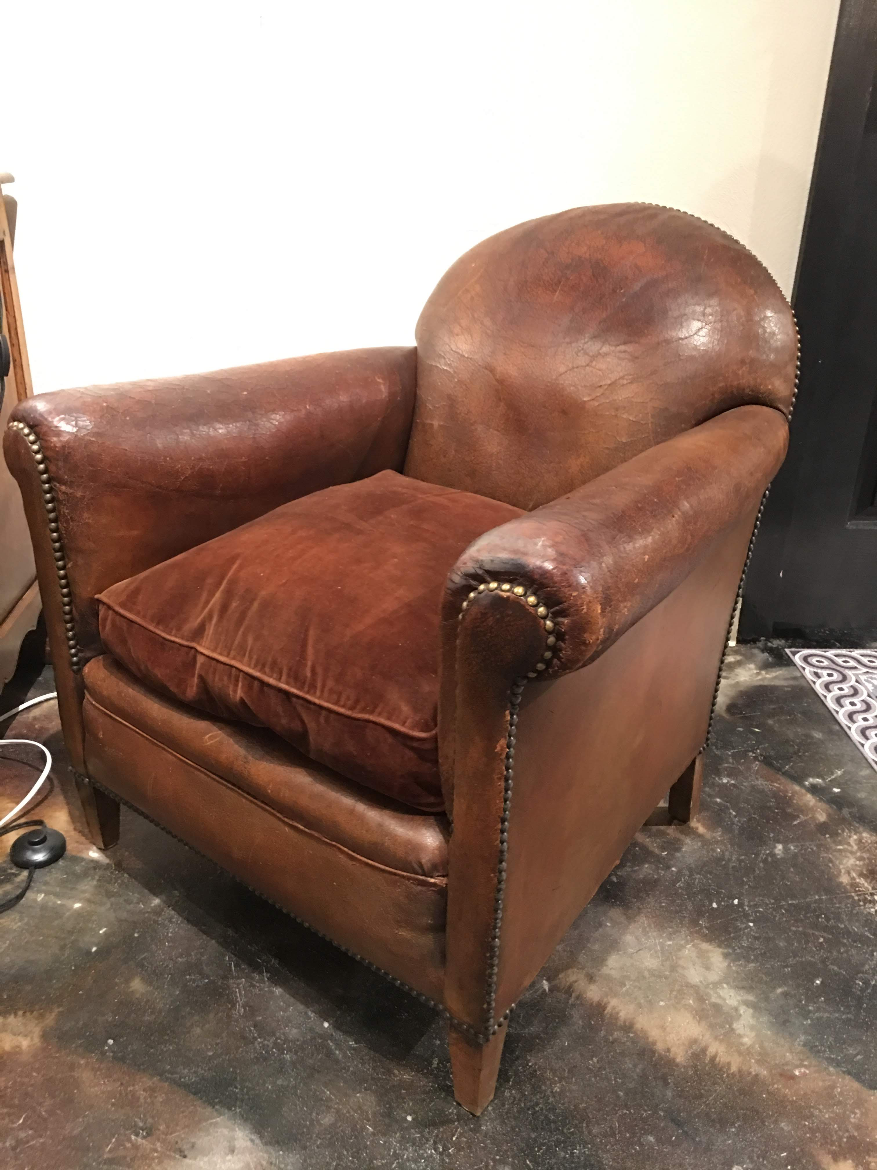 1920s Vintage Leather French Armchair In 2019 Chairs Armchair
