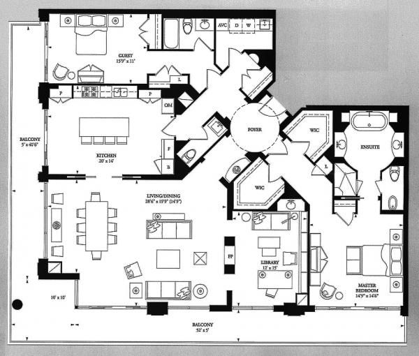 100 Yorkville Ave 2 Bed 2420 Sf Floor Plans Condominium Floor Plan Floor Plans Craftsman Floor Plans