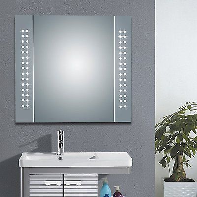 60 led demister illuminated bathroom cabinet mirror with shaver