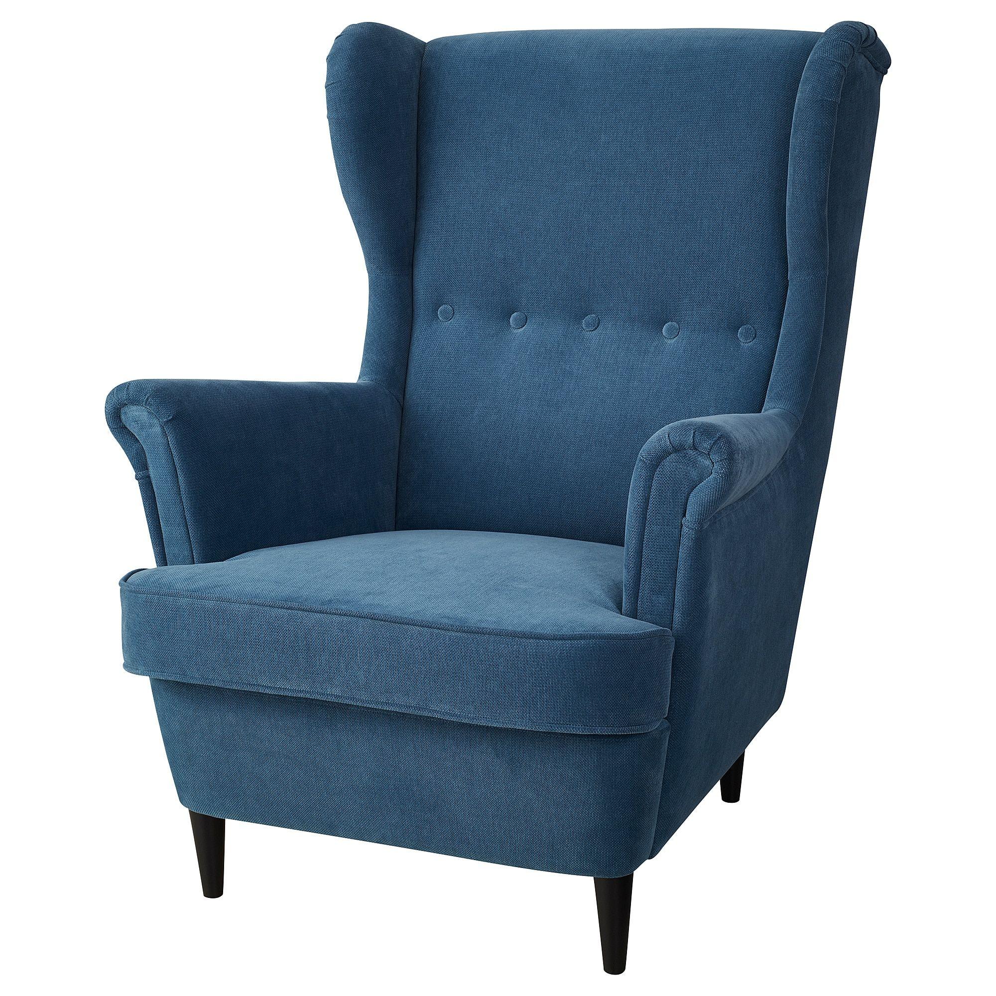 STRANDMON Wing chair Tallmyra turquoise blue Ikea