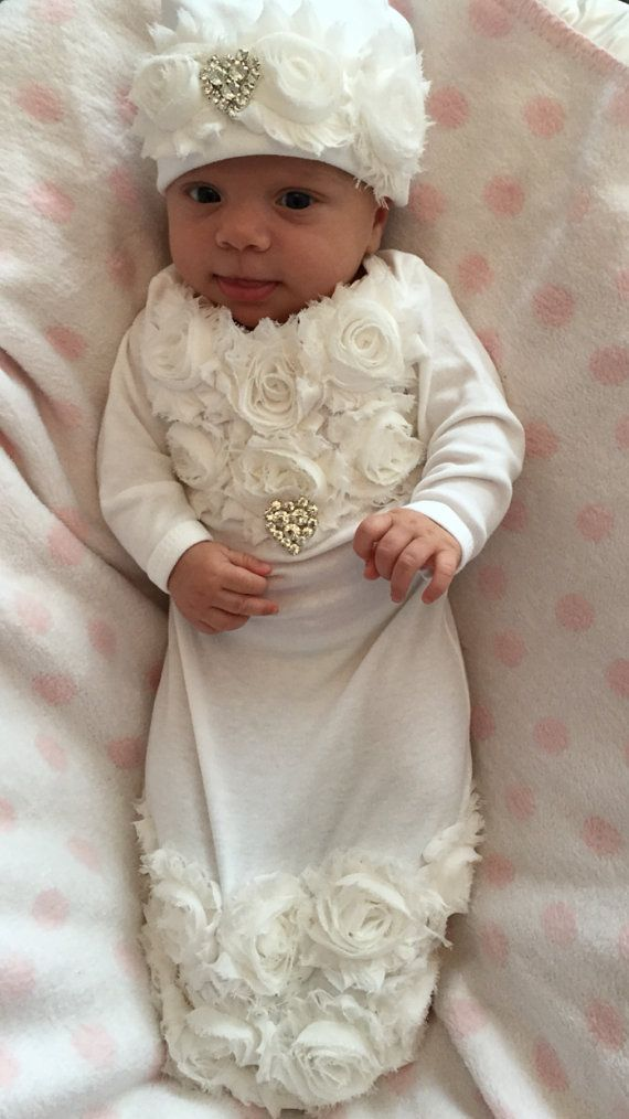 Infant Baby Layette White Cotton Baby Gown with Off White Shabby ...