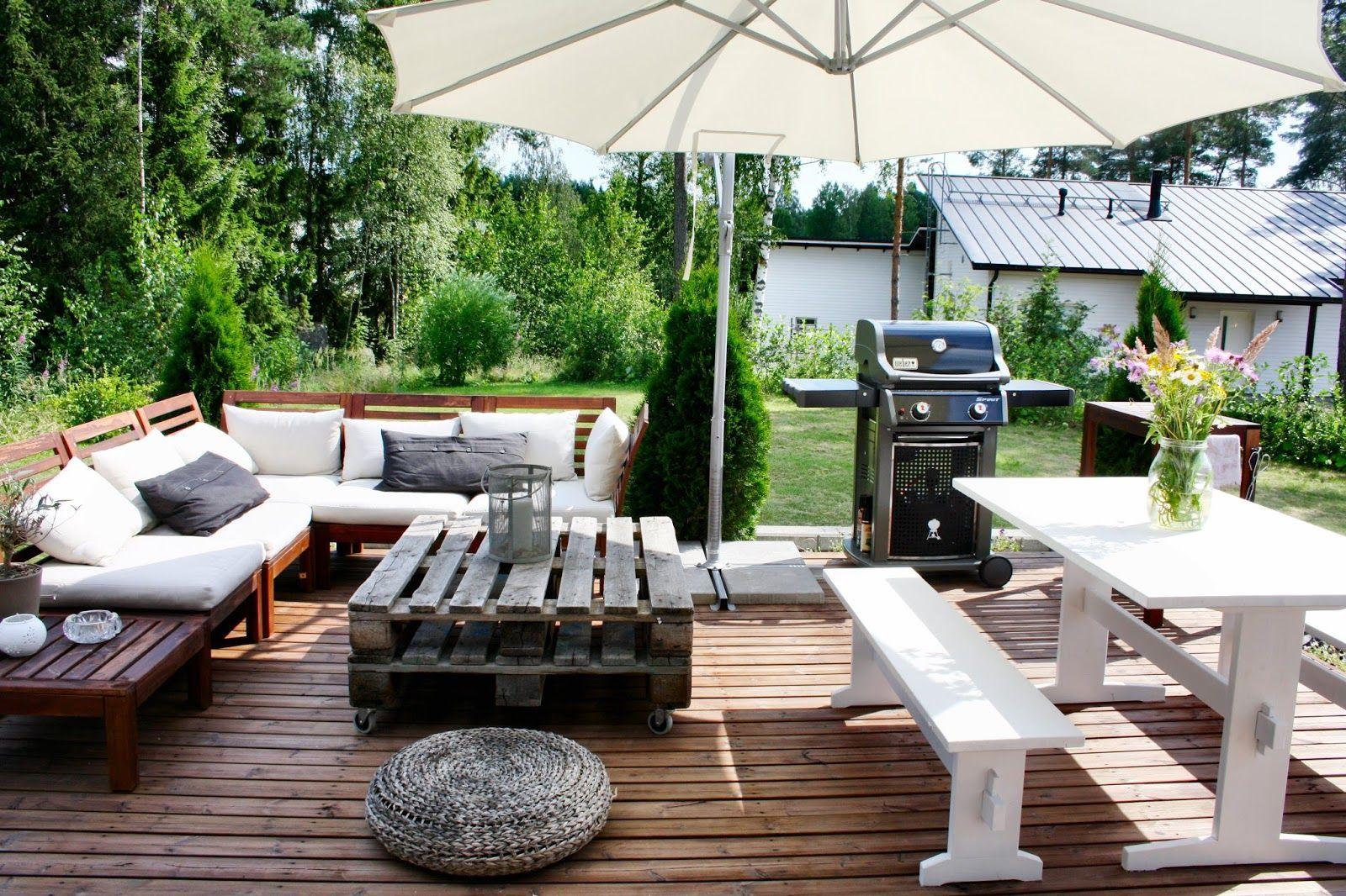 outdoor terrace patio garden ikea pplar kuormalava pirttip yt wohnung. Black Bedroom Furniture Sets. Home Design Ideas