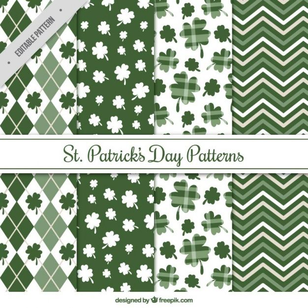 Pack of four st patrick's day patterns in green tones Free Vector