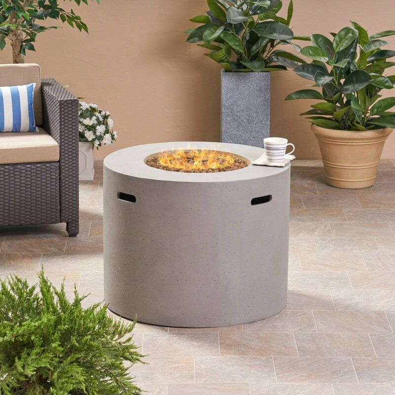 Caelan outdoor concrete propane gas fire pit table in 2020