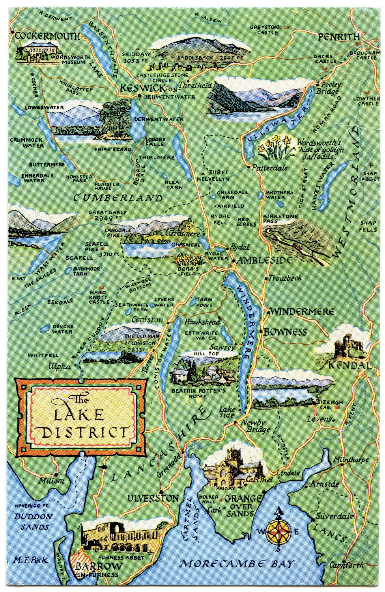 Map Of England Lake District.Postcard Map Of The Lake District Britain Lake District Cumbria