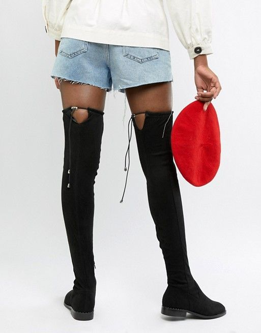 88b41d9d5 DESIGN Tall Kaska flat studded thigh high boots