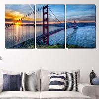 (No Frame) Bela Ponte em San Francisco 3 Painéis Grande HD Imagem Cópia Da Lona Da Pintura Decorativa Da Parede Da Arte pintura a óleo