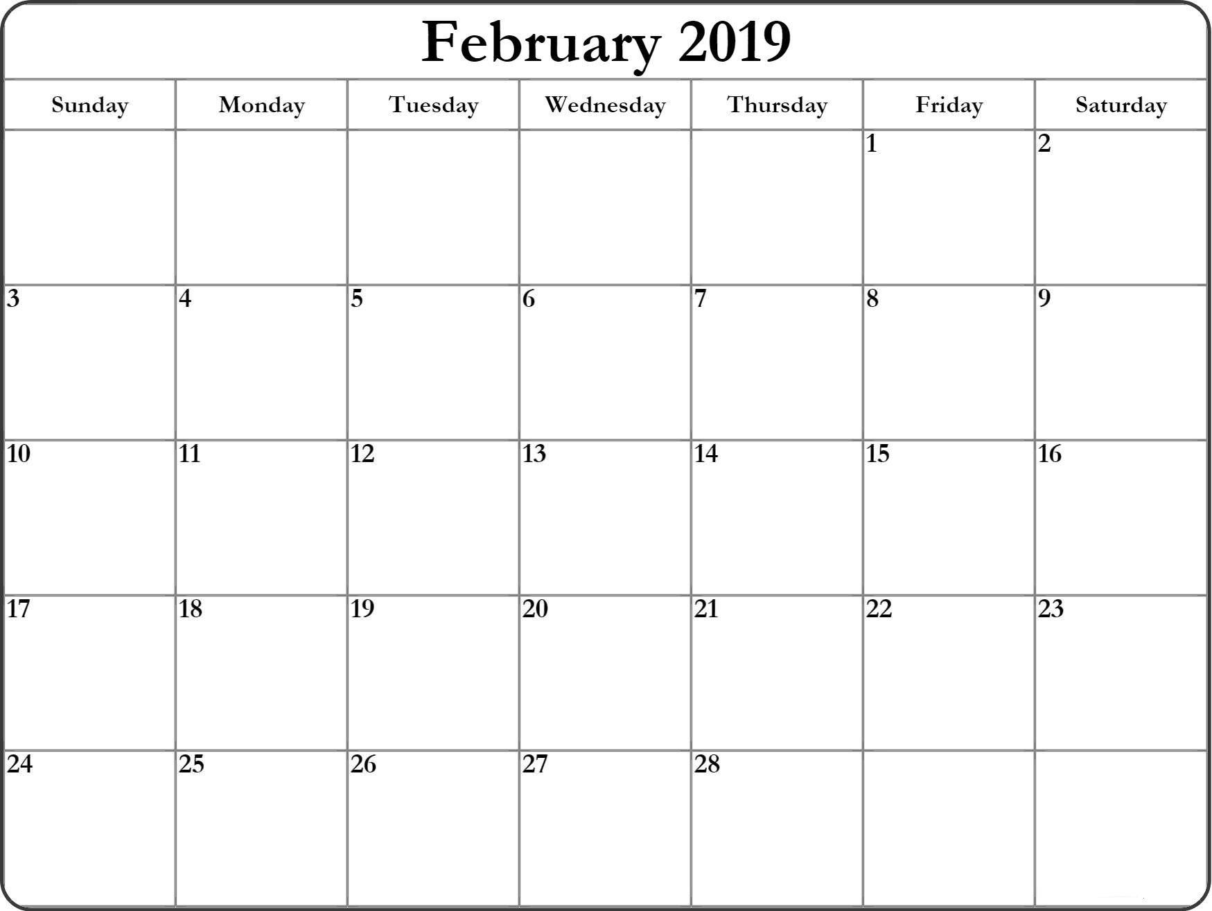 February 2019 Blank Editable Calendar Feb February2019