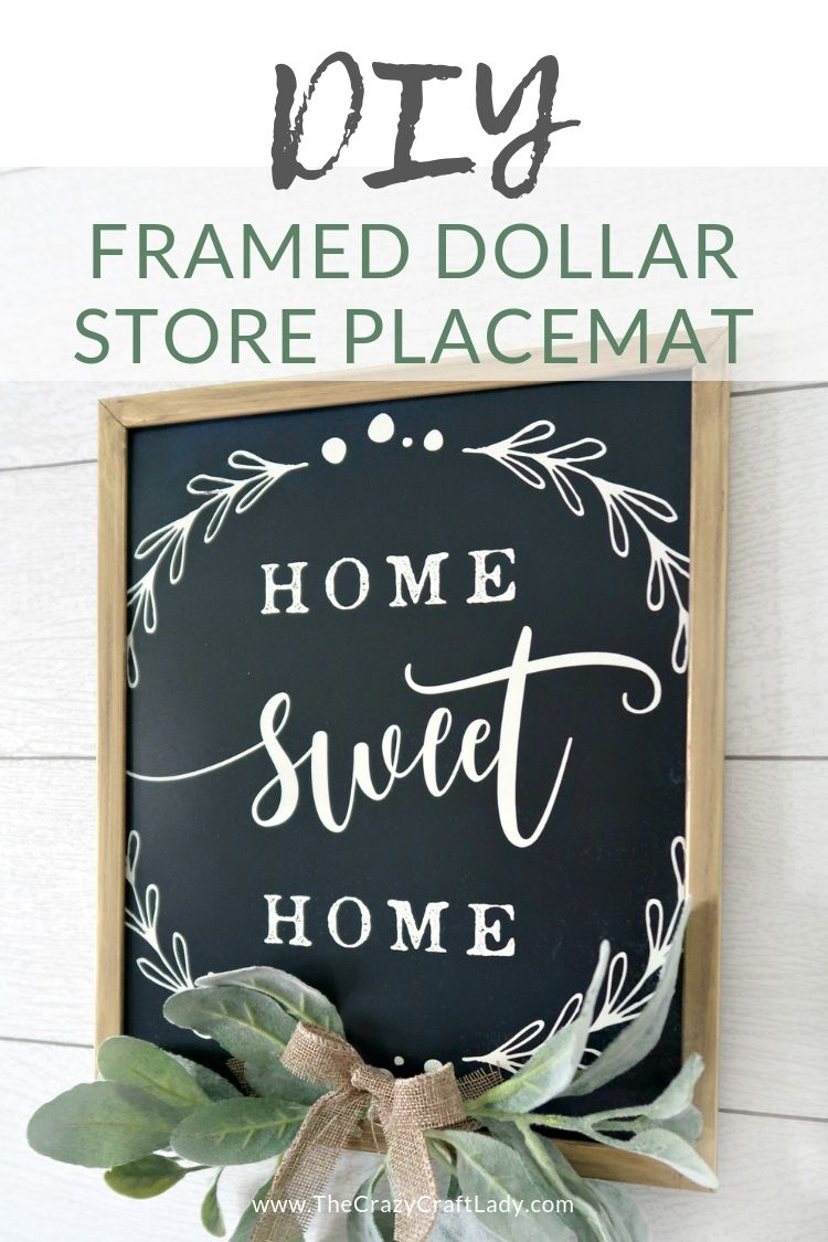 DIY Framed Placemat - Dollar Store Wall Decor - The Crazy Craft Lady