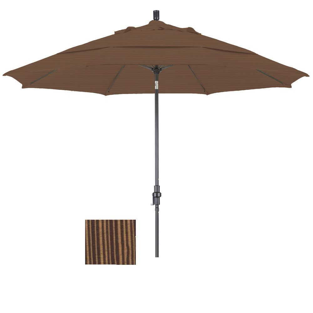 Eclipse Collection 11' Fiberglass Market Umbrella Collar Tilt Bronze/Olefin/Terrace Sequoia/DWV