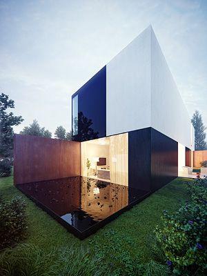 KMA. Amazing house in crispy white, shiny black and wood fascade. Modern minimalism.