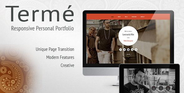 Termé - Responsive Personal Portfolio, Resume Columns, Easy pie - resume site