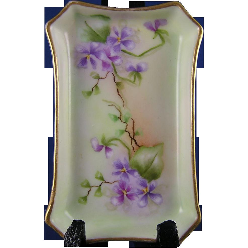 William Guerin Co Wg Co Limoges Violet Motif Pin Tray C 1900 1932 Limoges Porcelain Ceramics Romantic Decor