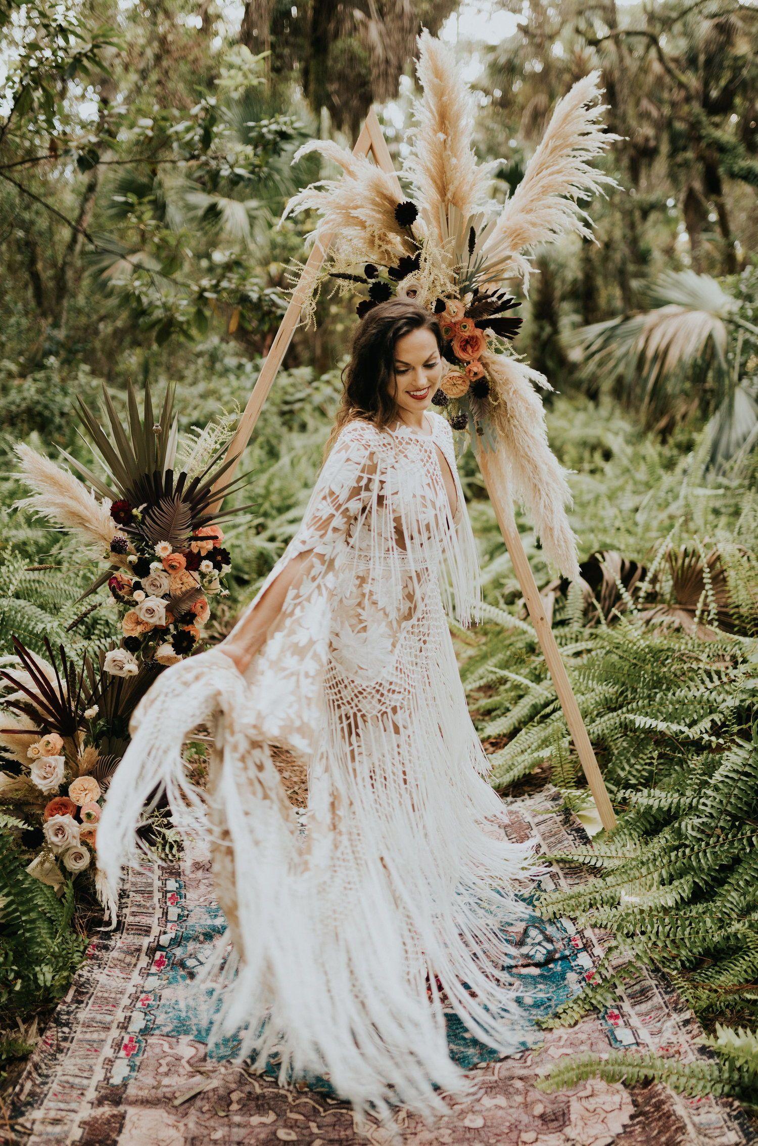Tropical boho wedding inspo rue de seine fringe wedding dress