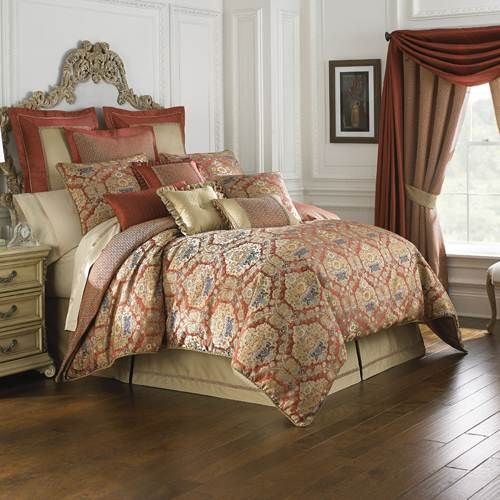 Waterford Olympia Comforter Set - Queen - Red & Gold Damask