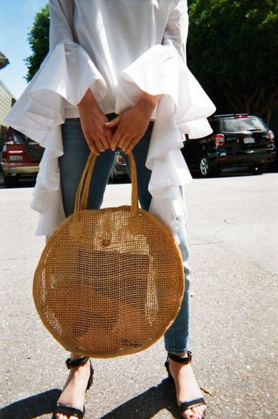 $10 - $500 Simple Summer Spring Minimalist Street Style White Statement Ruffled Oversized Sleeved See-Through Blouse Beige Yellow Woven Basket Bag Round Tote Tumblr