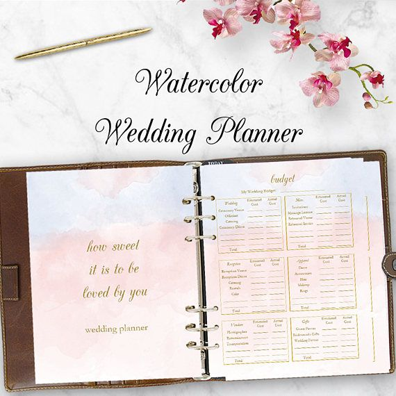 Watercolor Wedding Planning Kit Able Planner Pdf Checklist Printables