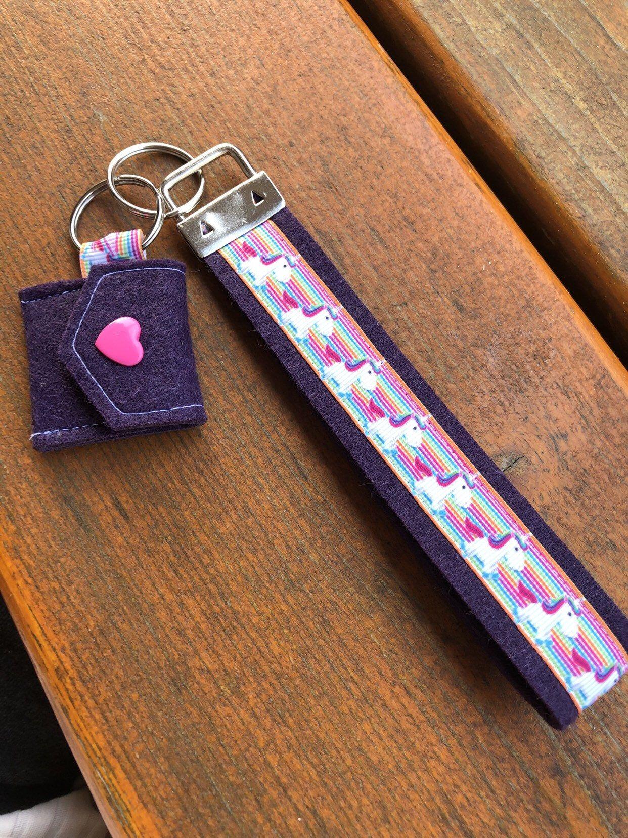 """Schlüsselband mit Einkaufswagenchiptäschchen """"Einhorn"""