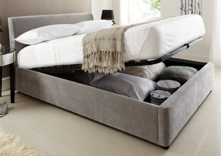 Grey Lift Up King Size Beds With Storage Underneath And Headboard Having White Bed Sheet Pillows On Rug