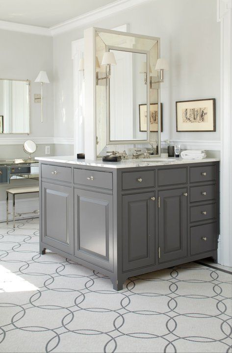 Peter Zimmerman Architects Amazing Bathroom For Two With Back To - Charcoal gray bathroom vanity