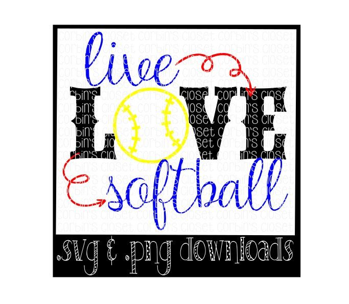 Live Love Softball Cutting File - SVG & PNG Files - Silhouette Cameo/Cricut by CorbinsCloset on Etsy