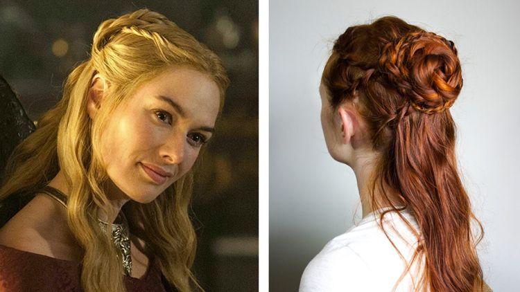 Game Of Thrones Frisuren Cercei Halboffen Dutt Zopfe Haar Styling Haartutorial Mittelalterliche Frisuren