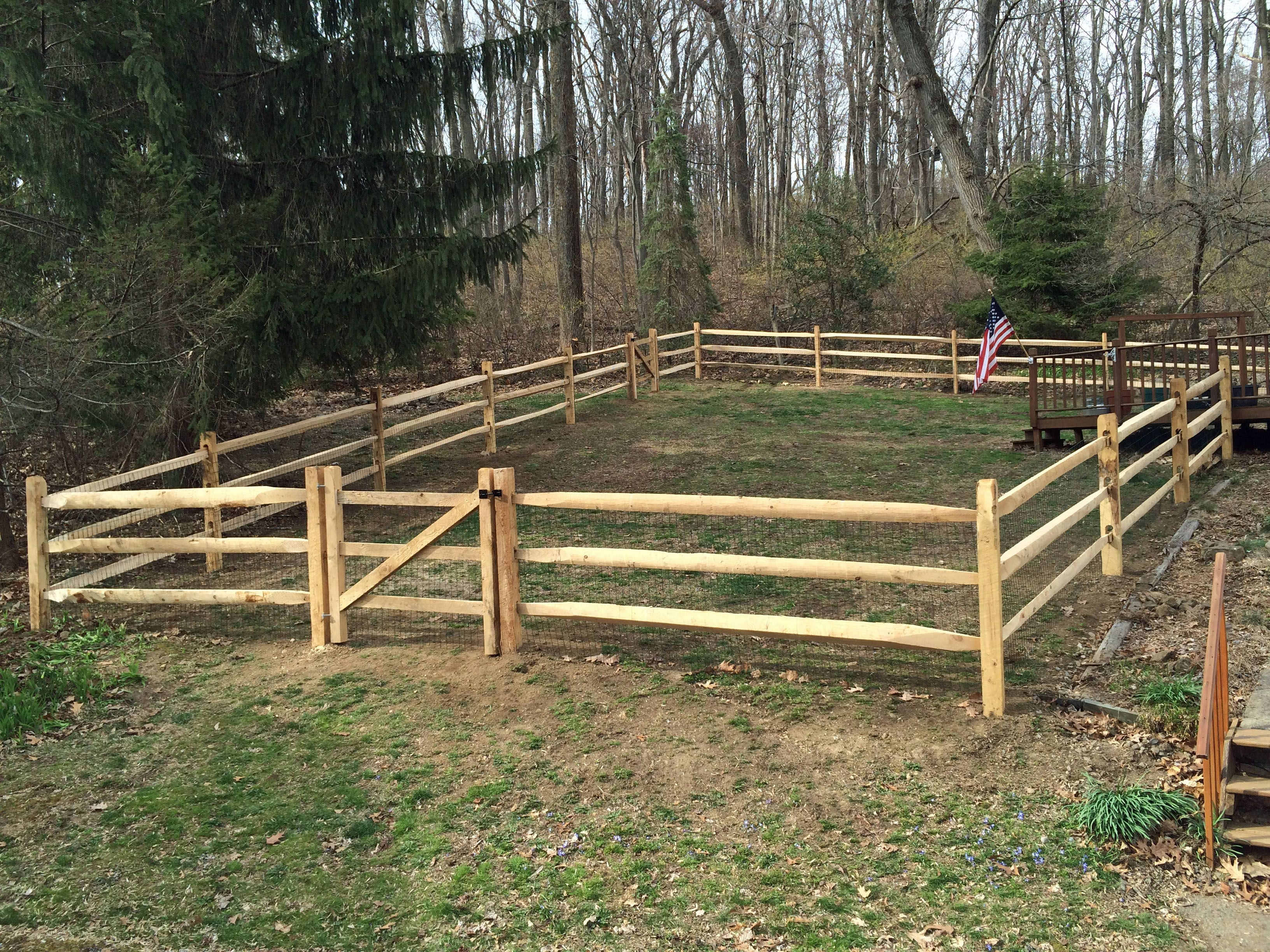 3 rail hemlock split rail fence with locust posts and vinyl coated ...