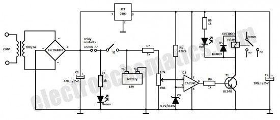 automática de la batería esquemática circuito del cargador