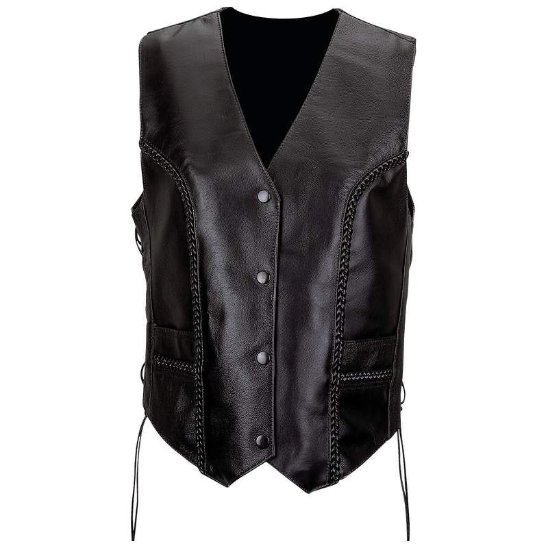 Small Interstate Leather Mens Basic Vest with Side Lace