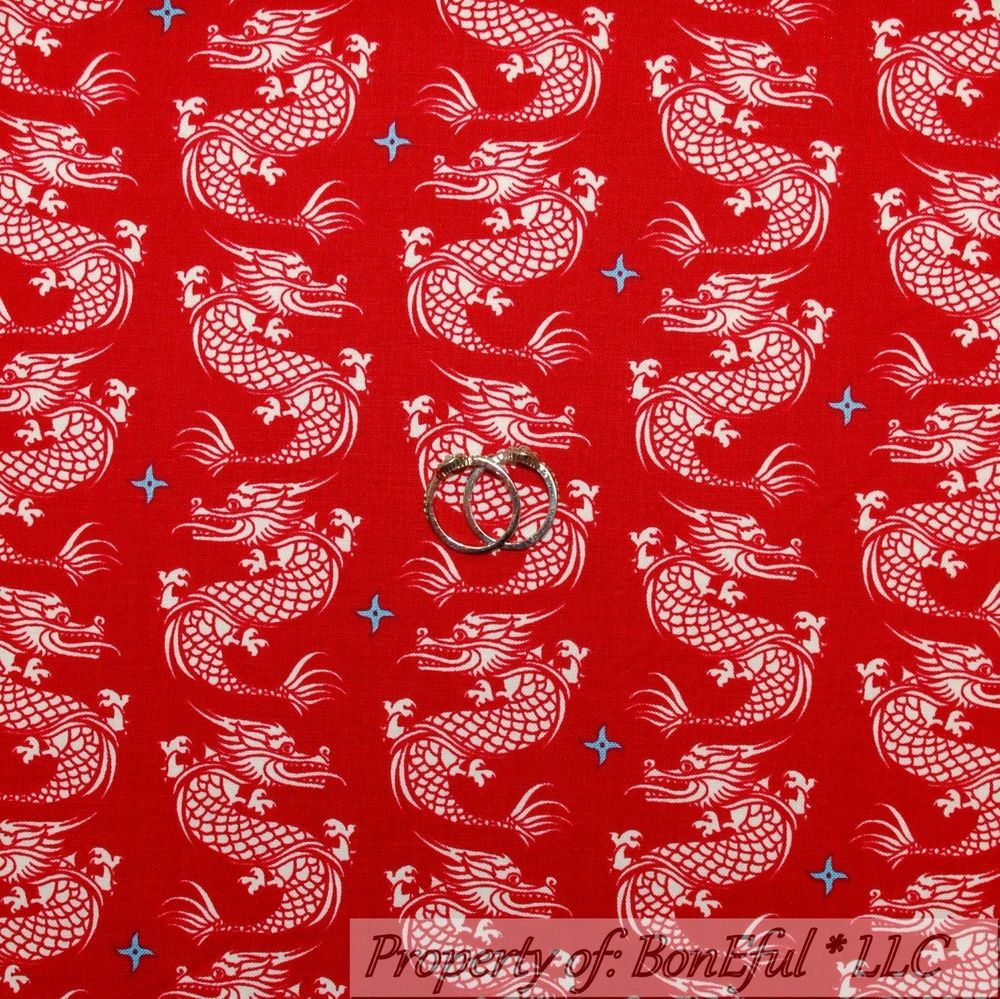 BonEful Fabric FQ Cotton Quilt Red White Blue Asian DRAGON Tattoo ... : tattoo quilt fabric - Adamdwight.com