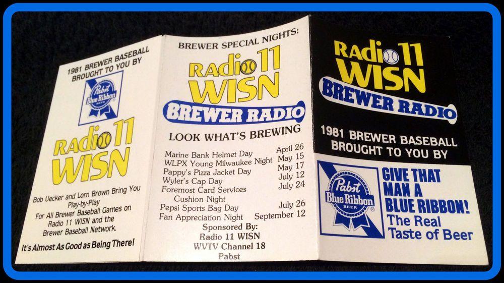 1981 milwaukee brewers pabst blue ribbon baseball pocket