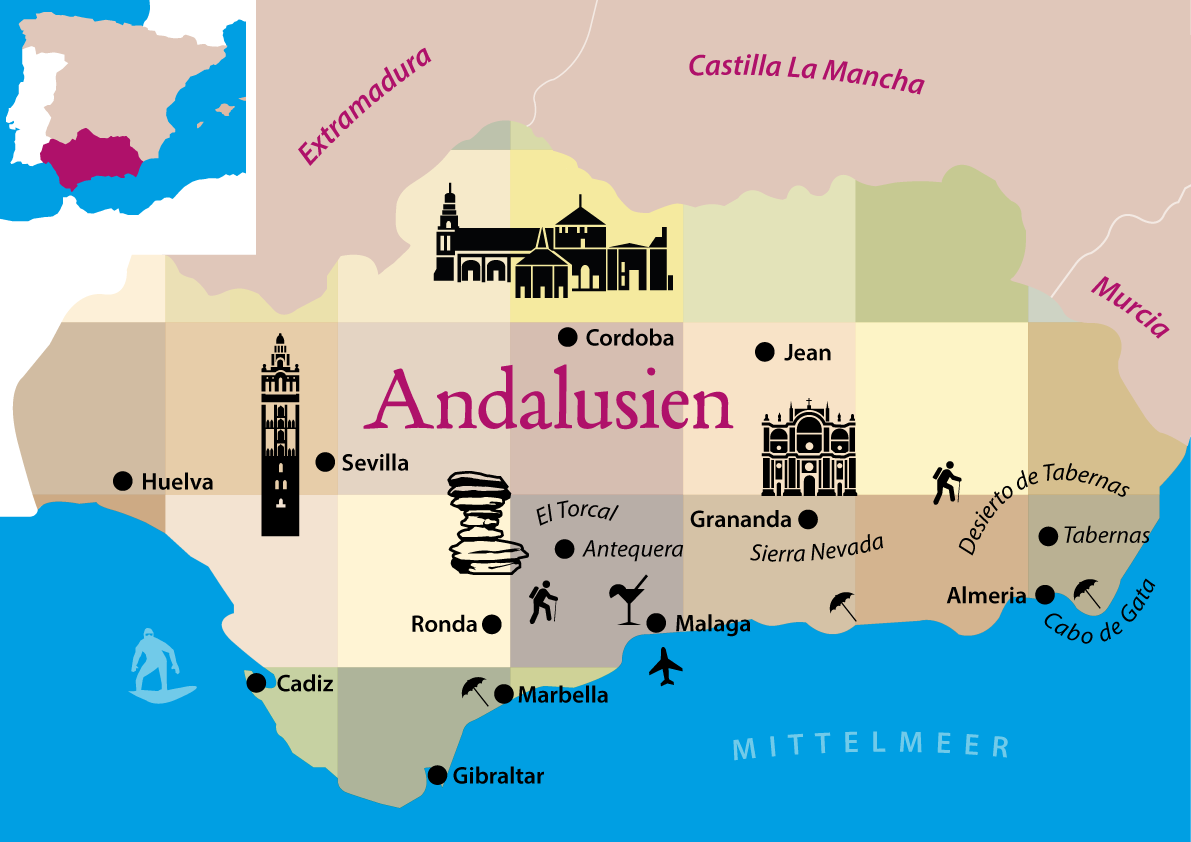 Andalusien Karte Spanien.Andalusien Rundreise Tipps Route Und Highlights Andalusien