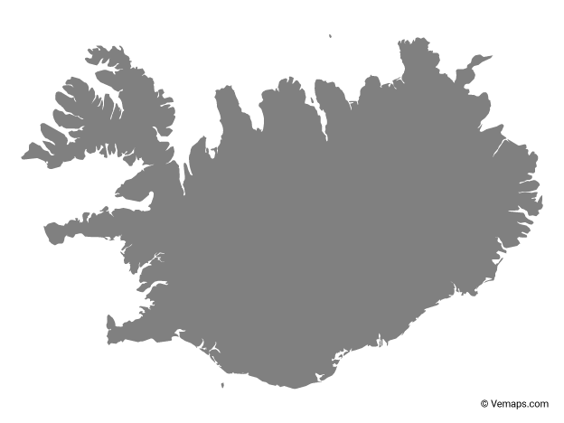 Grey Map of Iceland   Map, Map vector, Iceland