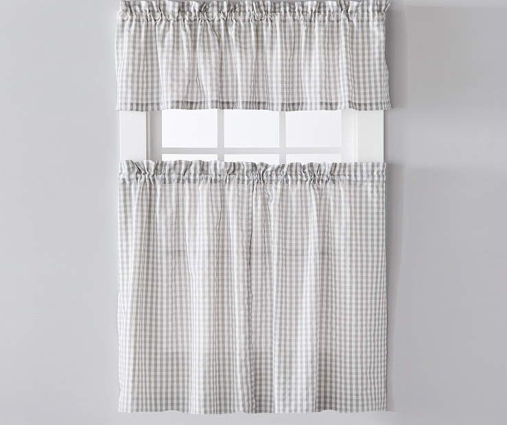 Living Colors Gray Gingham Tier Valance 3 Piece Set Valance