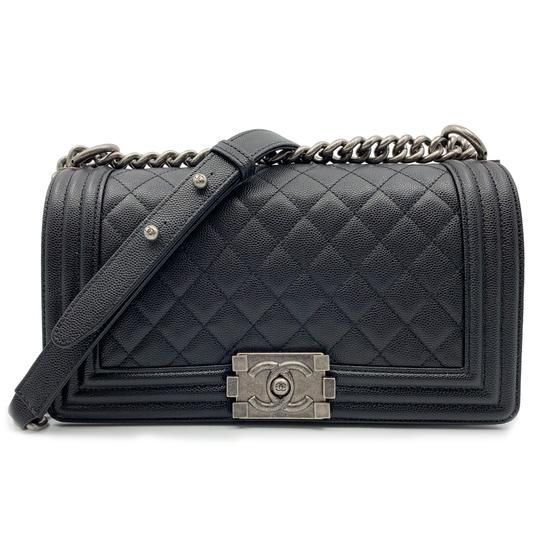 6040f405de3c Chanel Boy Ruthenium Finish Medium Quilted Black Leather Cross Body Bag -  Tradesy
