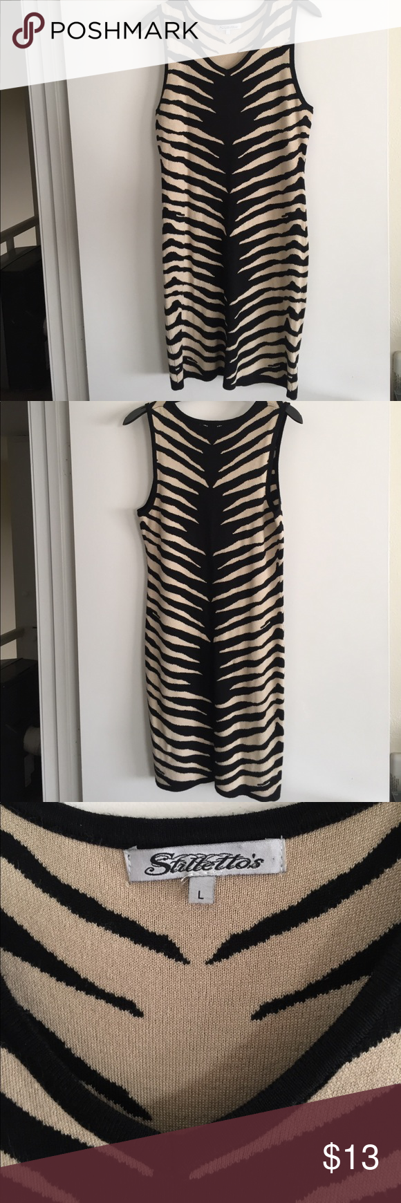 """Zebra print dress Zebra dress, its super cute thick material material is rayon, polyester stretches.  Size is Large.  Im 5""""7 and this fits me 3"""" above my knee. stillettos Dresses Midi"""