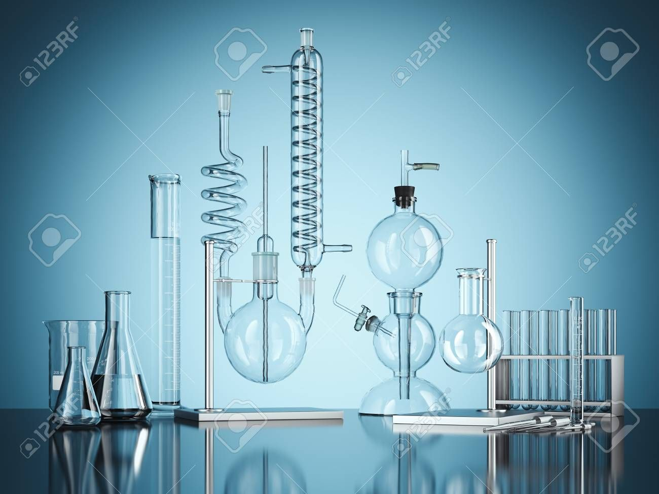 Glass Chemistry Lab Equipment On Blue Background 3d Rendering Stock Photo Affiliate Lab Equipment Glass Chemistry Easy Drawings Chemistry Lab Equipment Blue Backgrounds