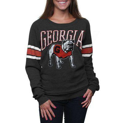 Georgia Bulldogs Women's Slouchy Pullover Sweatshirt - Charcoal ...