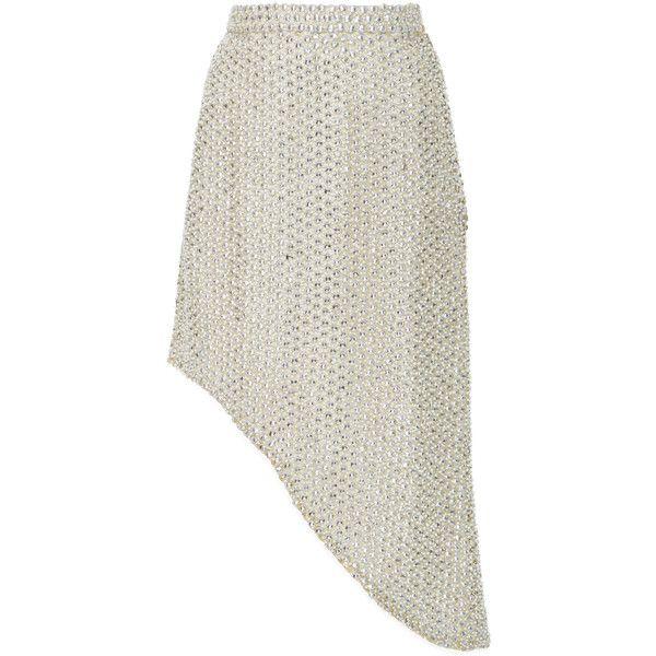 Rodarte Pearl Embellished Asymmetrical Skirt (7.785 BRL) ❤ liked on Polyvore featuring skirts, rodarte, metallic, metallic skirt, white asymmetrical skirt, white knee length skirt and white skirt