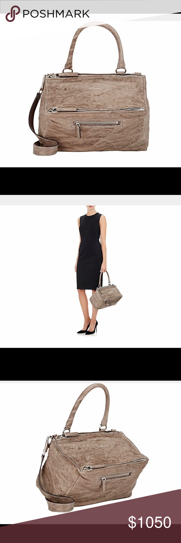 602baf339a NWT Givenchy Pandora Pepe Medium Leather Bag Givenchy s charcoal wrinkled  sheepskin Pandora Pepe medium messenger bag