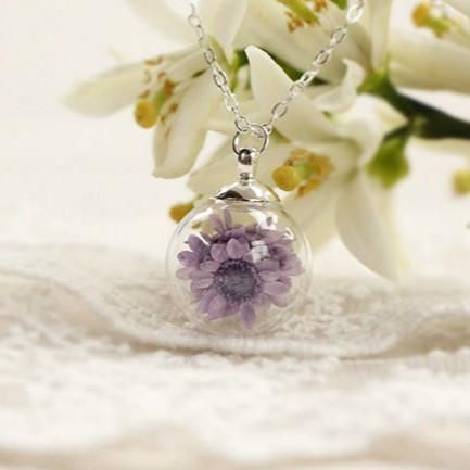 Handmade Real Dried Flower Bottle Necklace