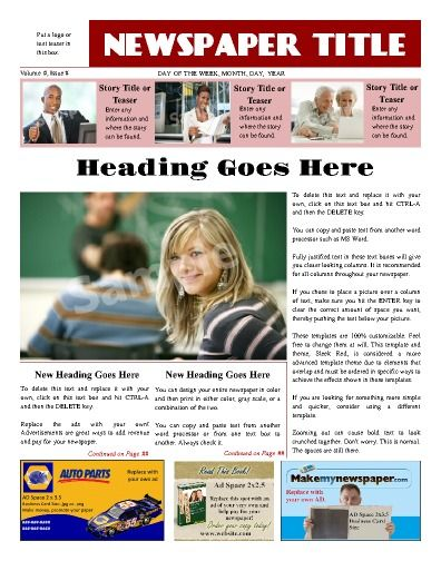 This Front Page Template Allows For Advertisements Where They Are Most Visible Try This 11 Newspaper Template Newsletter Templates School Newsletter Template