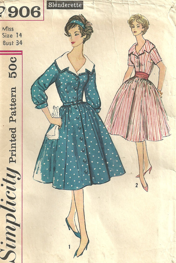Simplicity 2906 Vintage 50s Sewing Pattern // Dress Size 14 Bust 34 ...
