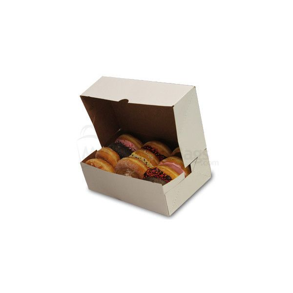 10 X 6 1 4 X 3 1 4 White Donut Box With Natural Kraft Interior 0 31 Liked On Polyvore Featuring Food Food And Drink A Donut Box 10 Things Food Packaging