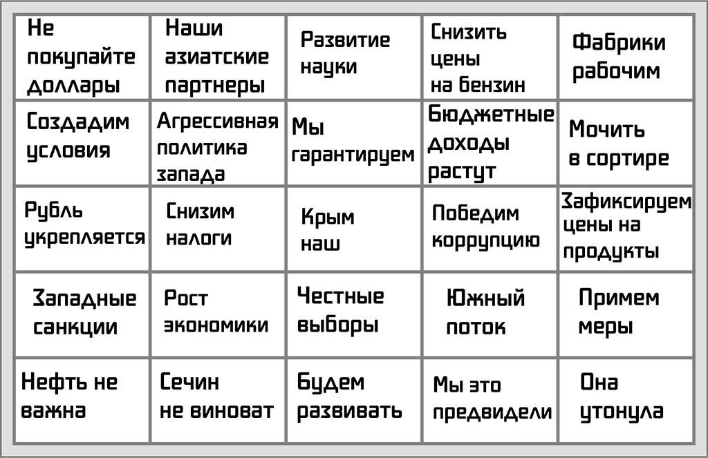 В этом году мы не стали делать Путин-бинго, но создатель формата уже все сделал как надо. Игорян, спасибо. Там не слишком цензурно, поэтому просто ссылка. Но есть и тот, что можно показать прямо в онлайне.